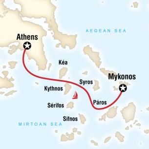 Greek islands sailing Athens to Mykonos